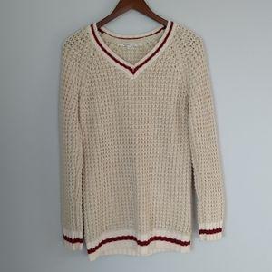 Bluenotes women's cream long sleeve v-neck knit pullover size XL